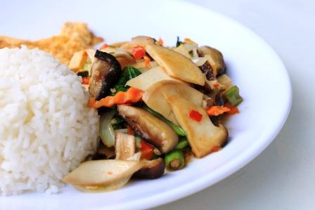 čína tofu so zmiešanou zeleninou a smaženým vajcom v bielom tanieri s ryžou