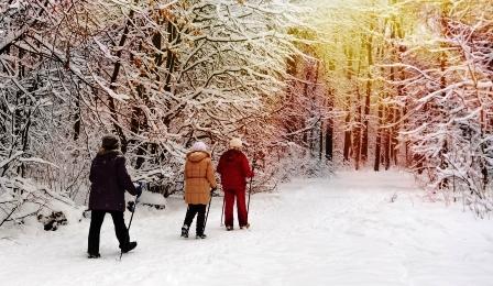 Nordic walking v zasnezenom zimnom parku.